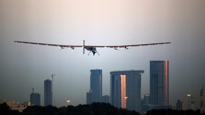 Bertrand Piccard lands the solar-powered plane Solar Impluse 2 at the Al-Bateen airport in Emirati capital Abu Dhabi on March 2, 2015