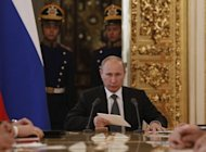 <p>Russia's President Vladimir Putin gives his keynote speech on Russia's budget policy to 2012-2015 in the Moscow Kremlin, in June 2012. Putin's government has conceded that the annual World Economic Forum poll is showing up its failures to address the baneful business climate and vows to work with more dedication to repair the shortcomings.</p>