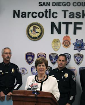 San Diego District Attorney Bonnie Dumanis speaks about criminal charges stemming from Operation Shadow Box, a criminal investigation  drug involving Iraqi-Mexican drug ring during a news conference on Thursday, Aug. 18, 2011 in San Diego. (AP Photo/Lenny Ignelzi)