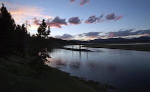 The Yellowstone River winds through the Hayden Valley in Yellowstone National Park, Wyoming