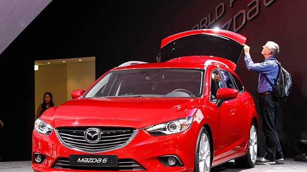 The Mazda 6 Wagon is on display during the first media day at the Paris Auto Show.