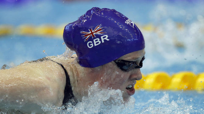Hannah Miley from Great Britain swims a Women's 400m Individual Medley heat at the European Short Course Swimming Championships in Szczecin, Poland, Sunday, Dec. 11, 2011. (AP Photo/Michael Sohn)