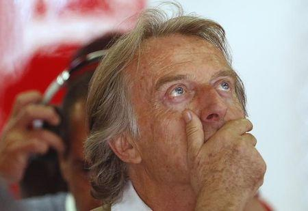 Ferrari President di Montezemolo reacts during the first practice session of the Spanish F1 Grand Prix at the Barcelona-Catalunya Circuit in Montmelo