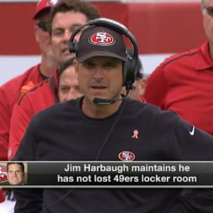 San Francisco 49ers head coach Jim Harbaugh denies locker room rift