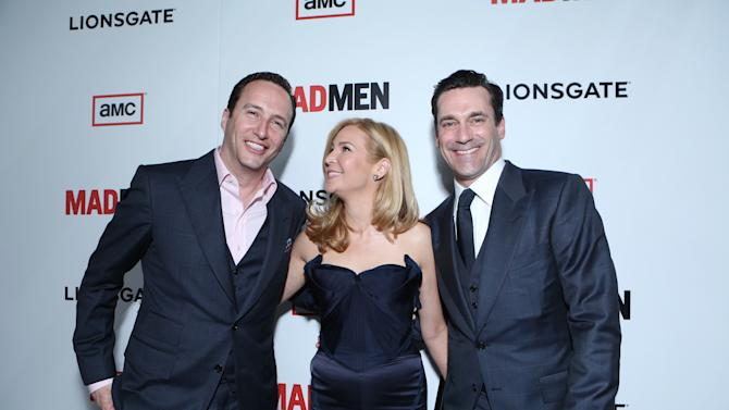 President of AME Charlie Collier, Jon Hamm and Jennifer Westfeldt at the AMC Season 6 Premiere of Mad Men , on Wednesday, March, 20, 2013 in Los Angeles. (Photo by Alexandra Wyman/Invision for AMC/AP Images)