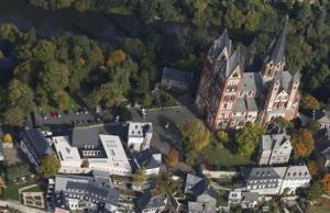 An aerial view shows the Limburg cathedral and the ensemble of the bishop's residence with private chapel in Limburg