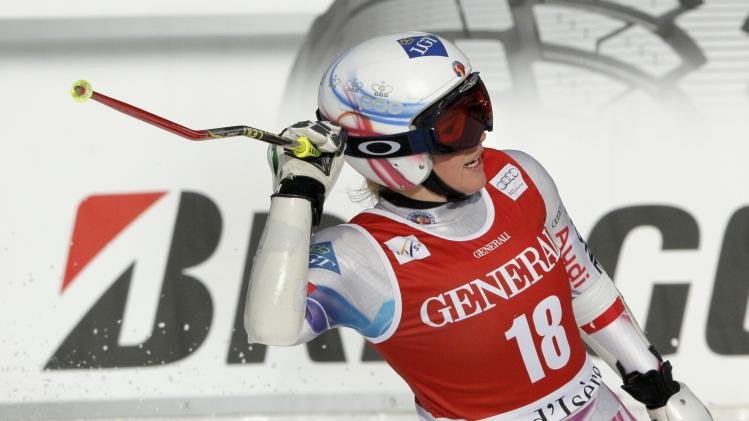 Weirather of Liechtenstein reacts after the first run of the women's World Cup Giant Slalom skiing race in Val d'Isere