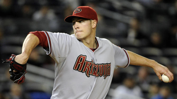 Arizona Diamondbacks pitcher Patrick Corbin delivers the ball to the New York Yankees during the third inning of a baseball game, Thursday, April 18, 2013, at Yankee Stadium in New York. (AP Photo/Bill Kostroun)