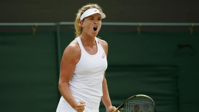 Coco Vandeweghe of the U.S.A. reacts during her match against Lucie Safarova of the Czech Republic at the Wimbledon Tennis Championships in London