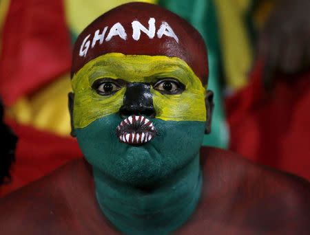Ghana fans await the start of their team's Group C soccer match against South Africa at the 2015 African Cup of Nations in Mongomo