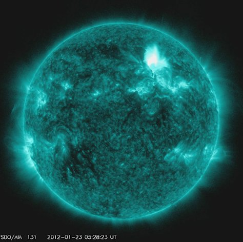 IN SPACE - JANUARY 23:  In this handout from the NOAA/National Weather Service's Space Weather Prediction Center, shows the M3.2 solar flare on January 23, 2012. The flare is reportedly the largest since 2005 and is expected to affect GPS systems and other communications when it reaches the Earth's magnetic field in the morning of January 24.  (Photo by NOAA/National Weather Service's Space Weather Prediction Center via Getty Images)