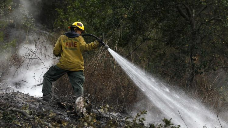 Angelina Herman sprays a hotspot following a burn out operation in Big Sur