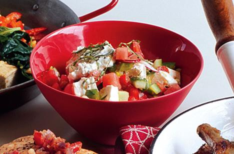 Chopped Vegie Salad with Watermelon and Feta Cheese