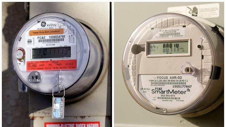 "This combination of undated AP Photos, shows left, a remaining analog meter in Clovis, California and right, a smart reader. Every day, PG&E replaces 1,200 old-fashioned analog meters with digital ""SmartMeter"" versions that can collect information without human help, generate more accurate power bills, even send an alert if the power goes out. (AP Photo/Gosia Wozniacka)"