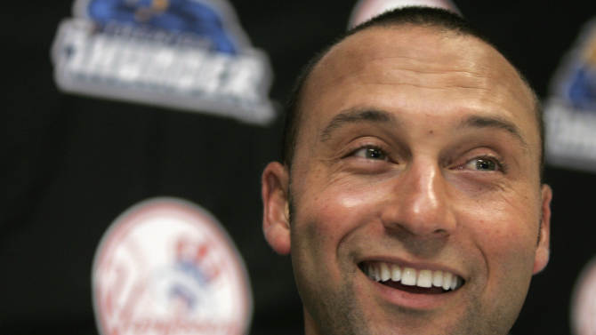 New York Yankees shortstop Derek Jeter talks with the media after playing in his second minor league rehab baseball game for the Trenton Thunder at Waterfront Park in Trenton, N.J., Sunday, July 3, 2011. Jeter is set to rejoin the Yankees in Cleveland on Monday in his return from a calf injury. (AP Photo/Rich Schultz)