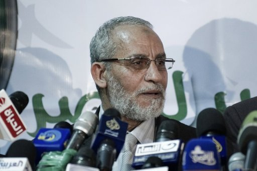 Mohamed Badie, Egypt's Muslim brotherhood leader, gives a press conference in Cairo on March 31. Dubai police have stepped up accusations against the Muslim Brotherhood of plotting to topple Gulf monarchies, saying a group of UAE activists arrested for threatening state security was linked to the organisation, a report said Friday
