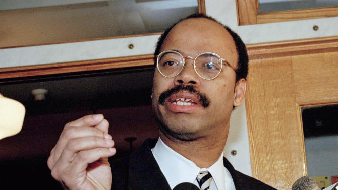 FILE - In this Jan. 9, 1995 file photo, U.S. Rep. Mel Reynolds responds to question in Chicago. Reynolds has scheduled a news conference Wednesday, Nov. 28, 2012, in Chicago to announce that he is running to replace Jesse Jackson Jr. in Congress. Jackson resigned last week, citing his ongoing treatment for bipolar disorder. Reynolds resigned from office in 1995 after being convicted of having sexual relations with an underage campaign worker. The Harvard-educated Democrat later also went to prison after being convicted of fraud for concealing debts to obtain bank loans and diverting money intended for voter registration drives into his election campaign. Jackson was first elected to Congress in 1995 in a special election to replace Reynolds. (AP Photo/Fred Jewell, File)