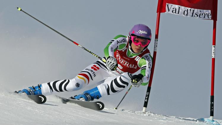 Austria's Hoefl-Riesch skis during the Women's World Cup Giant Slalom skiing race in Val d'Isere