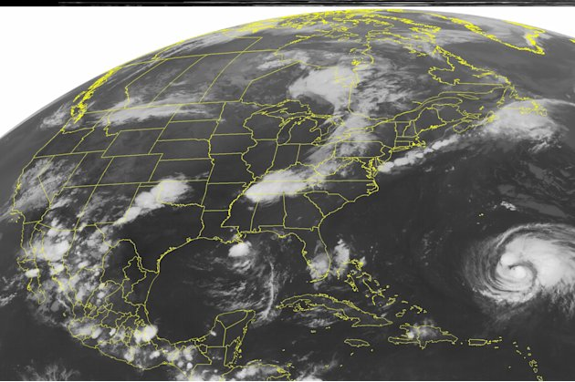 This NOAA satellite image taken Wednesday, Sept. 6, 2012 at 1:45 a.m EDT shows an area of low pressure across eastern Ontario with a cold front extending southward across the central Great Lakes into