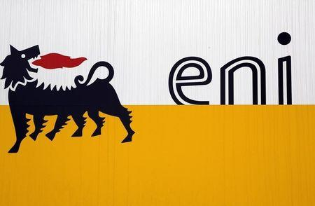 The logo of oil company Eni is pictured at San Donato Milanese near Milan