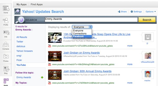 Viewing updates by keyword