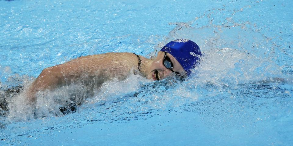 Kathleen Ledecky swims to victory in the women's 800-meter freestyle final at the U.S. Olympic swimming trials, Sunday, July 1, 2012, in Omaha, Neb.(AP Photo/Nati Harnik)