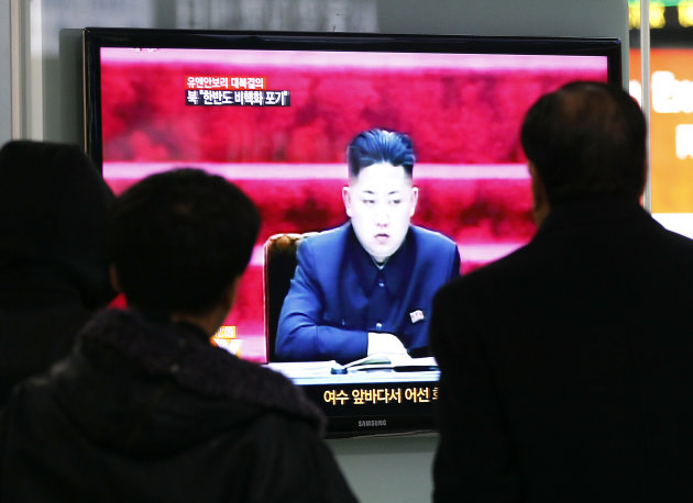 People watch TV showing North Korean leader Kim Jong Un at Seoul Railway Station in Seoul, South Korea, Wednesday, Jan. 23, 2013.  North Korea swiftly lashed out against the U.N. Security Council's co
