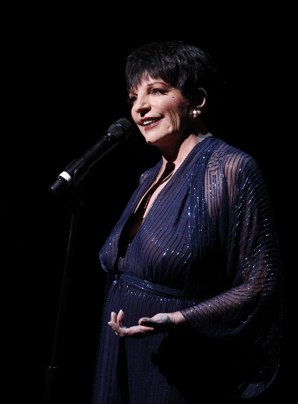 Liza Minnelli performs during A Tribute to Marvin Hamlisch, a memorial concert, at The Juilliard School's Peter Jay Sharp Theater, Tuesday, Sept. 18, 2012 in New York. (Photo by Jason DeCrow/Invision/AP Images)