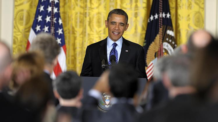 President Barack Obama announces the BRIAN, Brain Research through Advancing Innovative Neurotechnologies proposal, Tuesday, April 2, 2013, East Room of the White House in Washington. The president is asking Congress to spend $100 million next year to start a new project to map the human brain in hopes of eventually finding cures for diseases like Alzheimer's. (AP Photo/Susan Walsh)