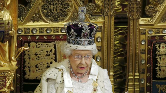 Britain's Queen Elizabeth delivers her speech to the House of Lords in the Palace of Westminster, during the State Opening of Parliament,  in London