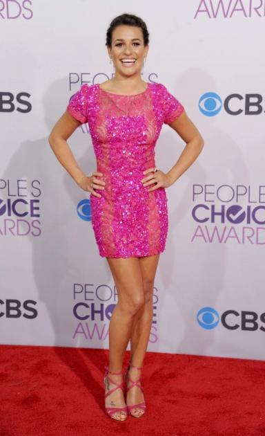 Lea Michele dazzles in pink at The People's Choice Awards on January 10, 2013 -- Getty Images