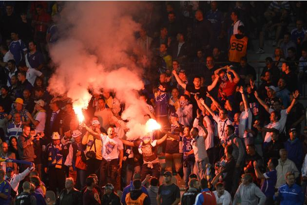 Bosnia's supporters celebrate after the team scored against Slovakia during their 2014 World Cup qualifying soccer match in Zilina