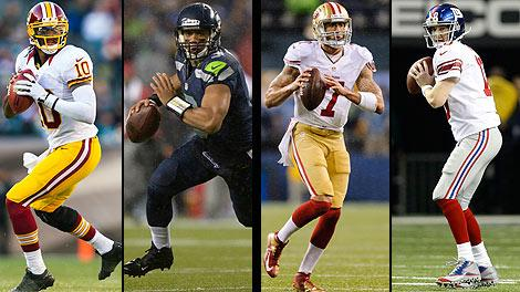 Robert Griffin and Russell Wilson and Colin Kaepernick and Eli Manning