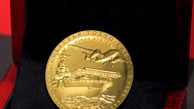 The Congressional Gold Medal, presented by the last two surviving members of the  Doolittle Raid, seen at the National Museum of the U.S. Air Force in Dayton, OH