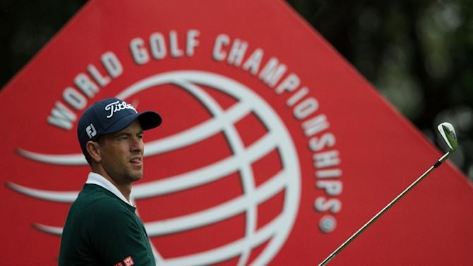 Australia's Adam Scott tees off during the pro-am event of the WGC-HSBC Champions in Shanghai on November 4, 2015