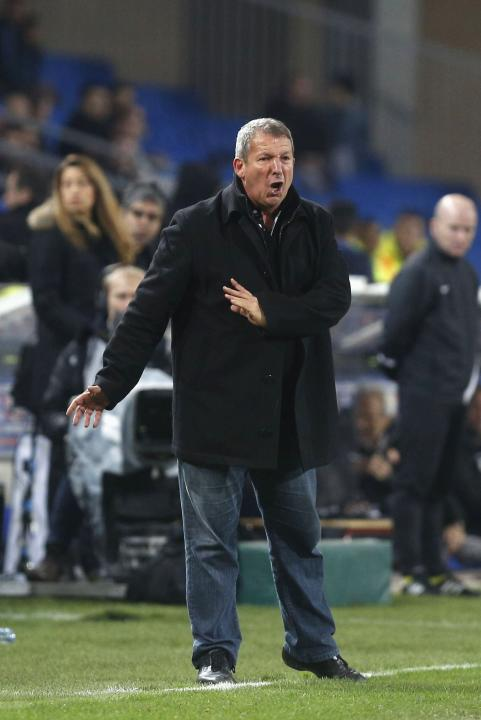 Montpellier coach Courbis gesture during French League soccer match against Monaco at Mosson Stadium in Montpellier