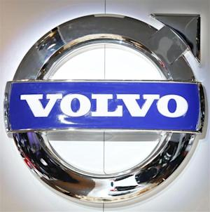 The logo of Volvo is pictured during a media preview day at the Frankfurt Motor Show