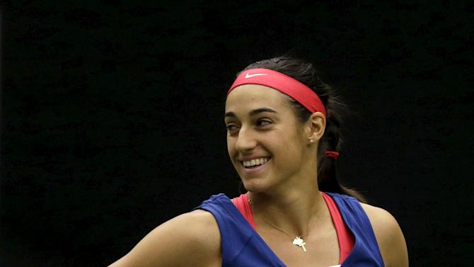 France's Caroline Garcia reacts during their semi-final match of the Fed Cup tennis tournament against Czech Republic's Lucie Safarova in Ostrava