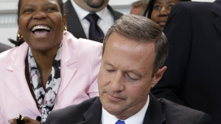 Maryland Gov. Martin O'Malley signs a bill abolishing capital punishment in the state during a ceremony in Annapolis, Md., Thursday, May 2, 2013. Maryland is the first state south of the Mason-Dixon Line to repeal the death penalty. (AP Photo/Patrick Semansky)