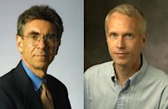 A combo shows US scientists Robert Lefkowitz (L) and Brian Kobilka who were awarded the Nobel Chemistry prize. Lefkowitz and Kobilka won the Nobel Chemistry Prize today for their groundbreaking work on how receptors of the body's cells respond to their environment, the jury said