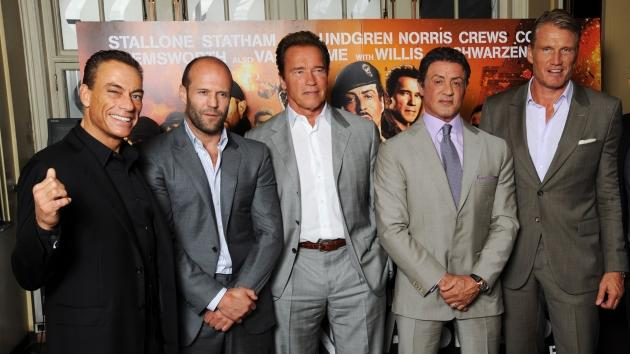 Jean-Claude Van Damme, Jason Statham, Arnold Schwarzenegger, Sylvester Stallone and Dolph Lundgren and Scott Adkins attend a photocall for The Expendables 2 in London on August 13, 2012 -- Getty Images