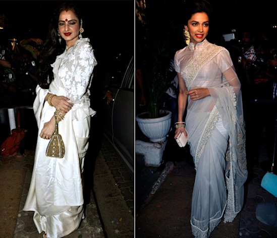 White Sari Face-Off: Deepika Vs Rekha