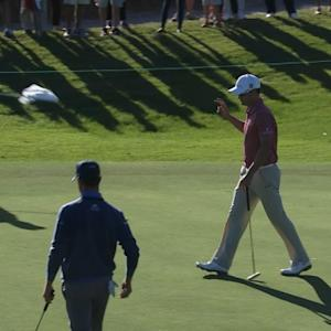 Zach Johnson rolls in a lengthy birdie at The RSM Classic