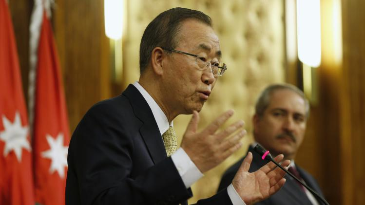 U.N. Secretary-General Ban Ki-moon speaks during a joint news conference in Amman