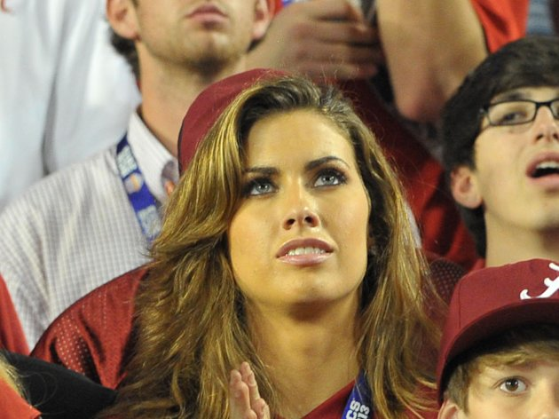 Katherine Webb (girlfriend of A.J. McCarron) celebrates after the 2013 BCS Championship game against the Notre Dame Fighting Irish at Sun Life Stadium. Alabama won 42-14