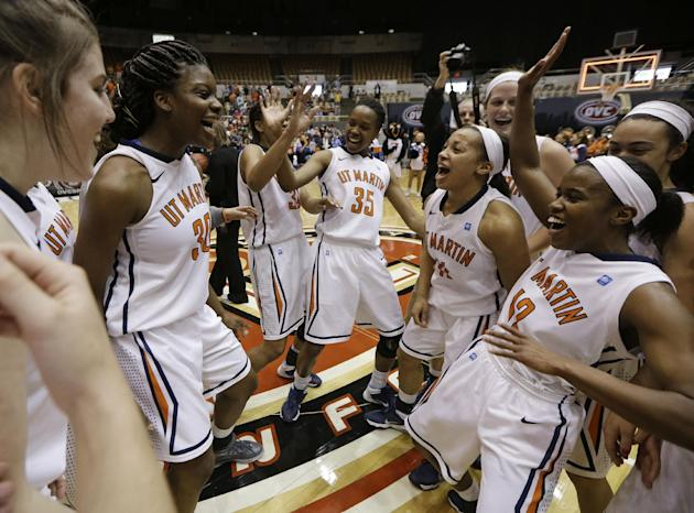 Tennessee-Martin players celebrate after beating Belmont in an NCAA college basketball game in the championship of the Ohio Valley Conference women's basketball tournament on Saturday, March 8, 20