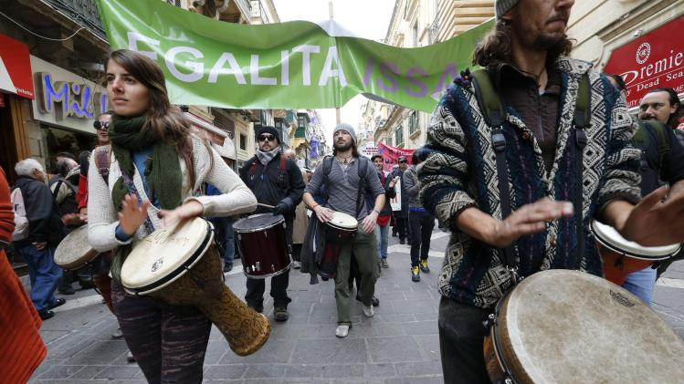 Protesters calling on the Maltese government to focus on tangible environmental measures instead of focusing solely on development march through Valletta