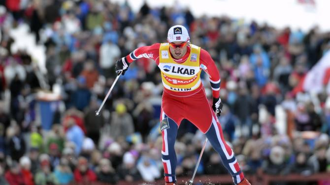 Norway's Petter Northug competes during the men's 15km pursuit at the FIS Cross Country World Cup Final in Falun, Sweden, March 24, 2013. (AP Photo/Scanpix Sweden/Anders Wiklund)  **  SWEDEN OUT  **