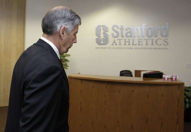 Stanford athletic director Bob Bowlsby leavea a meeting with his staff on the Stanford University campus in Stanford, Calif., Thursday, May 3, 2012. Bowlsby has told his staff that he is leaving to be