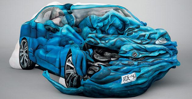Amazing body art car is a crashing success